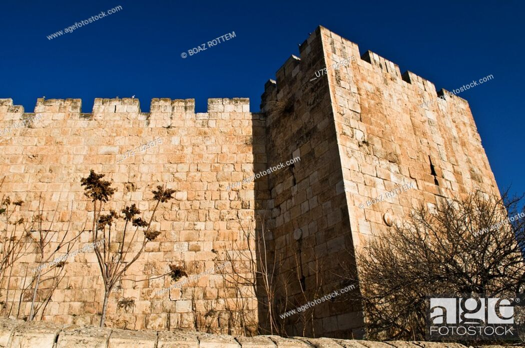 Stock Photo: The beautiful old city wall in Jerusalem.
