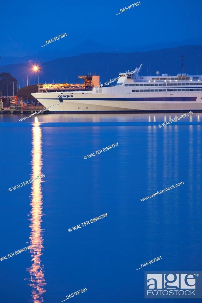 Stock Photo: Italy, Sardinia, Eastern Sardinia, Ogliastra area, Arbatax, harbor and island ferry, dawn.