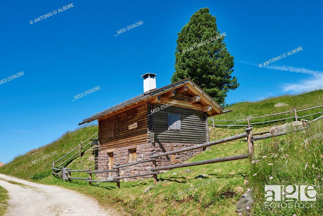 Imagen: A mountain hut in Paneveggio Pale di San Martino Natural Park. Paneveggio. Trento Province. Trentino-Alto Adige. Italy.