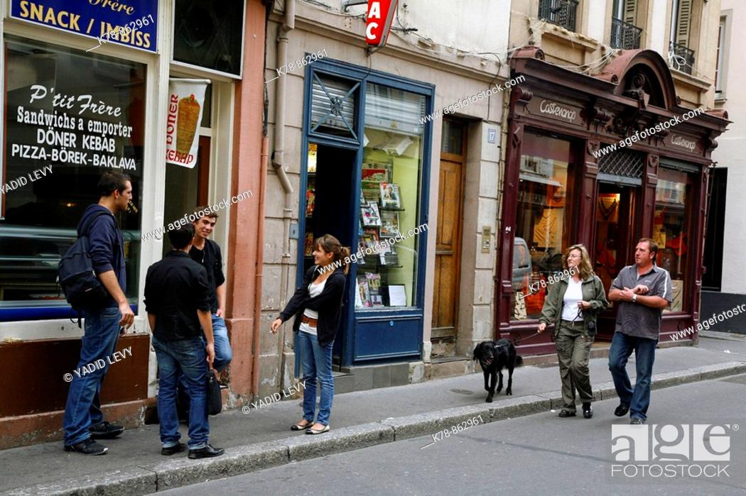 Stock Photo: Sep 2008 - Street scene in the centre of Strasbourg, Alsace, France.
