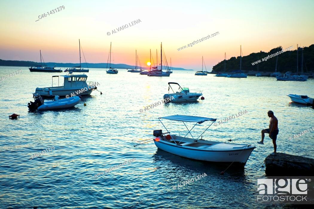 Stock Photo: Hvar town, Island of Hvar, Dalmatian coast, Dalmatia, Croatia.