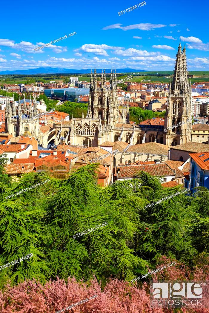 Stock Photo: Burgos aerial view skyline with Cathedral in Castilla Leon of Spain.