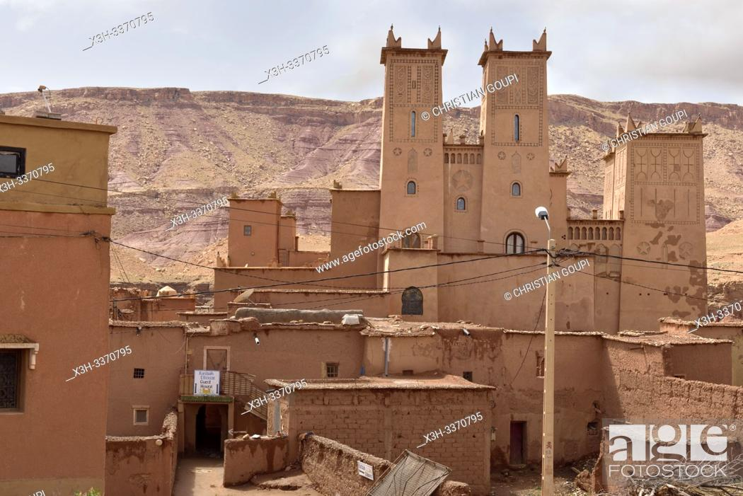 Stock Photo: Kasbah Ellouze guesthouse beside the Ksar of Tamedakhte, Ounila River valley, Ouarzazate Province, region of Draa-Tafilalet, Morocco, North West Africa.