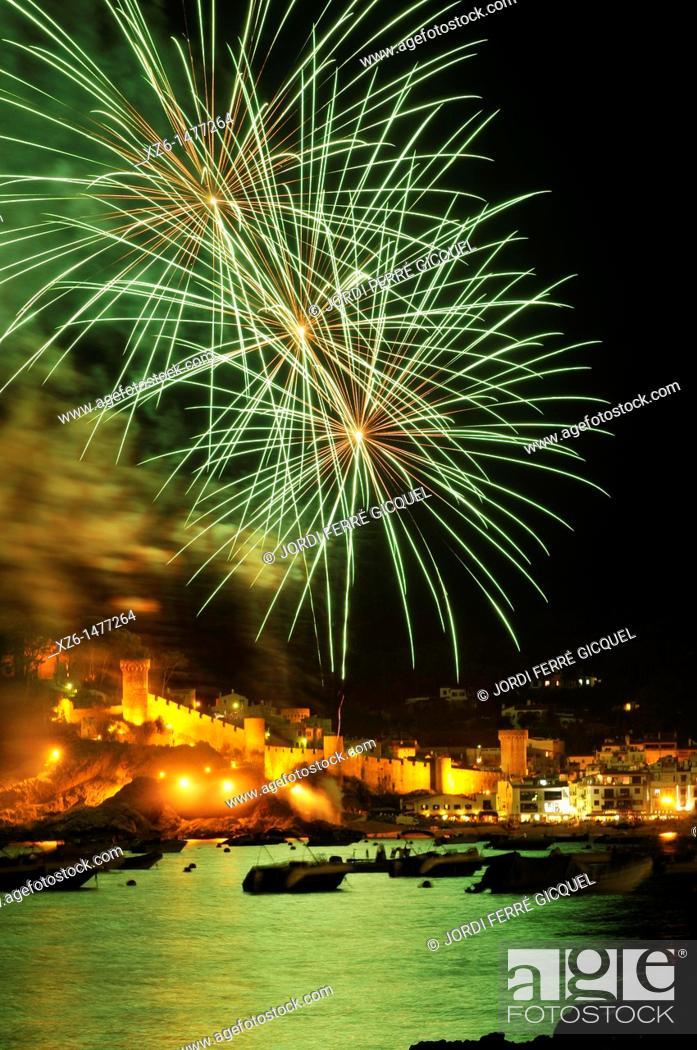 Stock Photo: Fireworks over the bay, Tossa de Mar, Costa Brava, Catalonia, Spain, Europe.