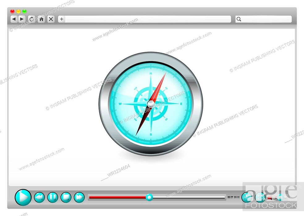 Vector: Internet web browser concept with compass navigation icon.