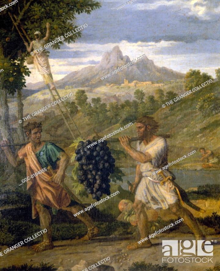 Stock Photo: POUSSIN: AUTUMN, 1662-63.The Autumn. Oil on canvas, 1662-63, by Nicholas Poussin.