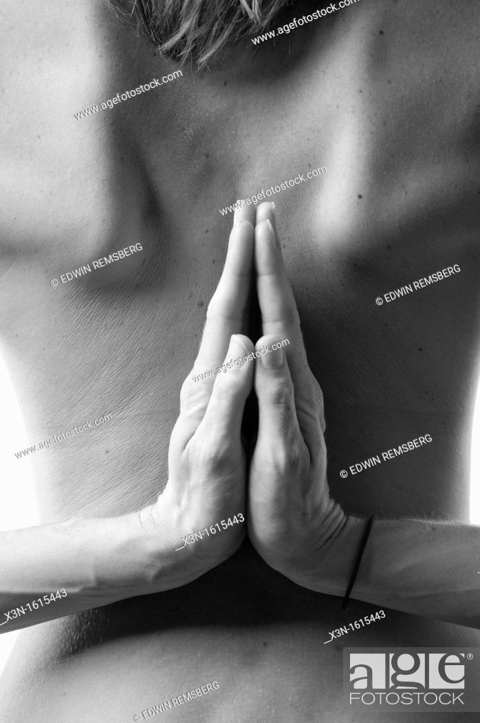 Stock Photo: Nude female athlete in yoga pose.