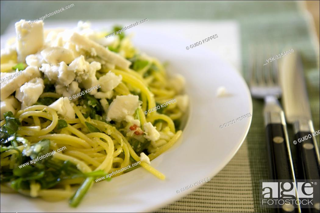 Stock Photo: Tilburg, Netherlands. Diner plate with Spaghetti Salade and blue cheese, freshly made and ready to eat.