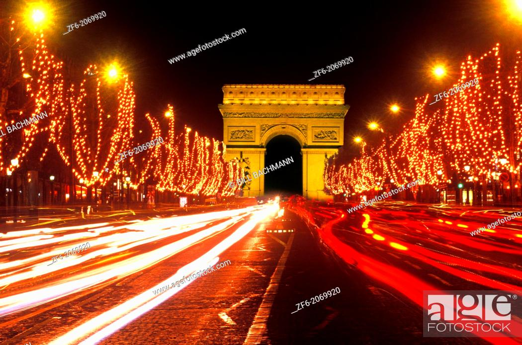 Stock Photo: Famous Champs Elysees and Arc de Triomphe Paris France.
