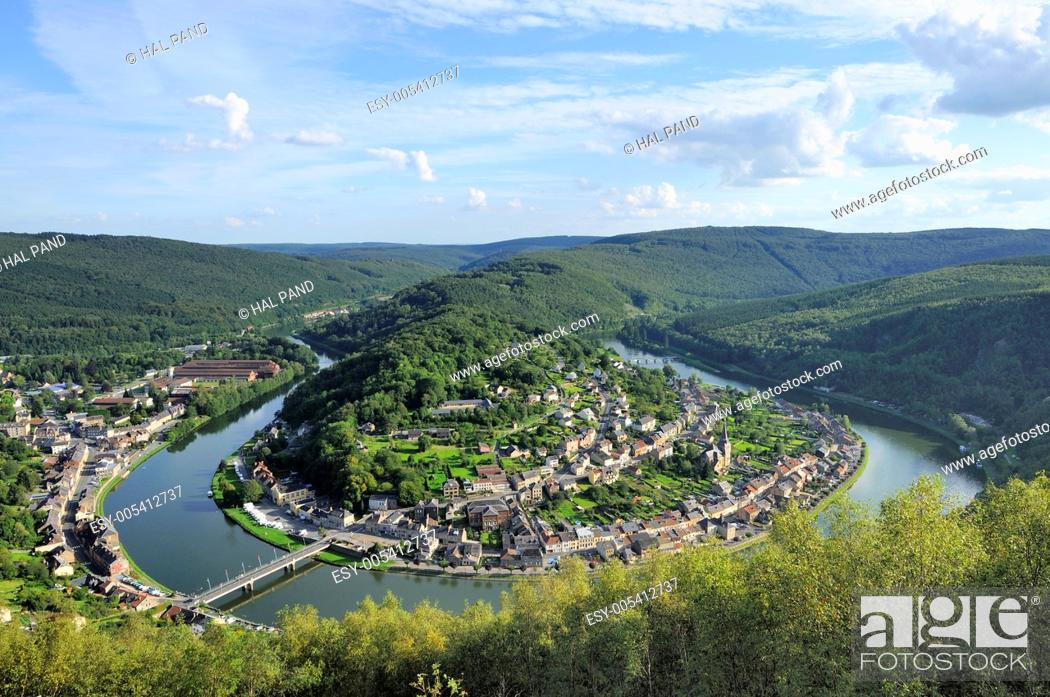 Stock Photo: meuse river bending at montherme', ardennes. aerial landscape of ancient village built over a river bending between hilly woods, shot in bright summer light.