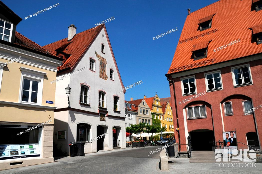 Stock Photo: The passage of Roßmarkt the wine market in the renovated old town of Memmingen.