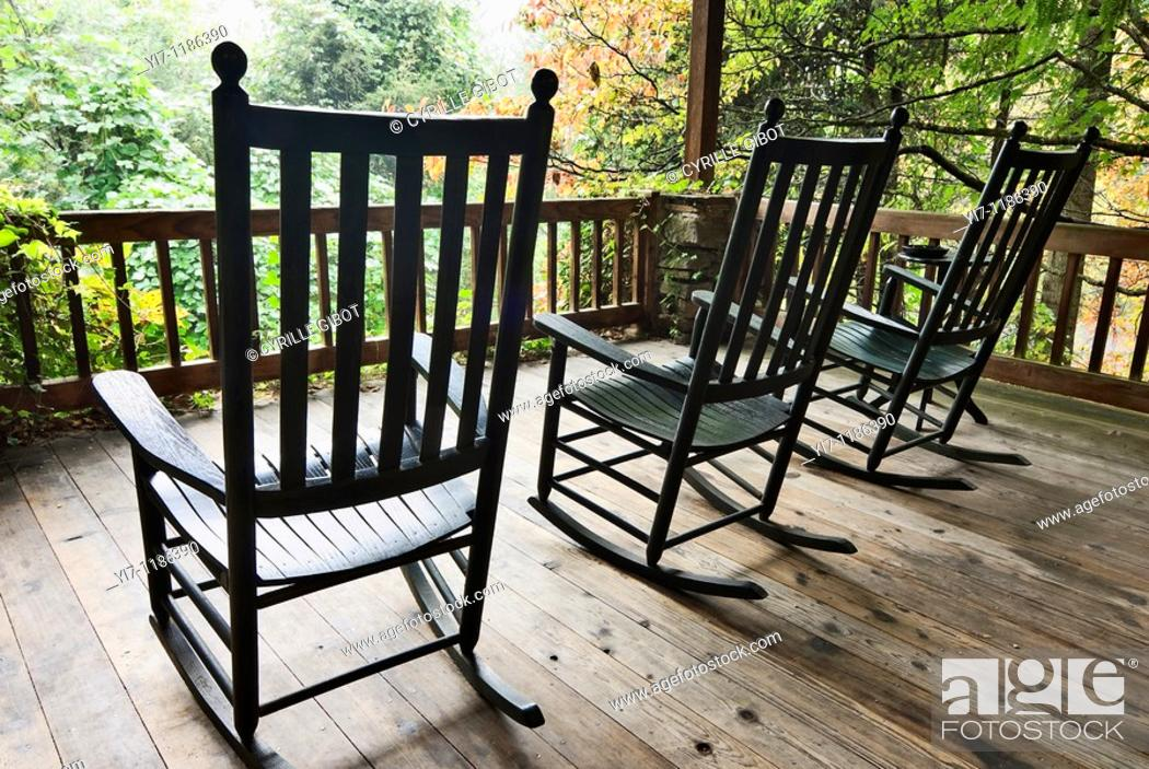 Stock Photo: Rocking chairs on front porch, Bryson City, North Carolina, USA.