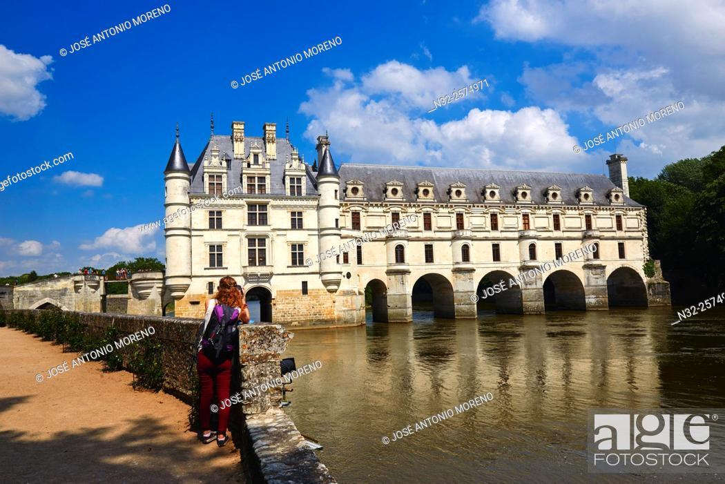 Stock Photo: Chenonceau, Castle, Chateau de Chenonceau, Indre-et-Loire, Cher River, Pays de la Loire, Loire Valley, UNESCO World Heritage Site, France.