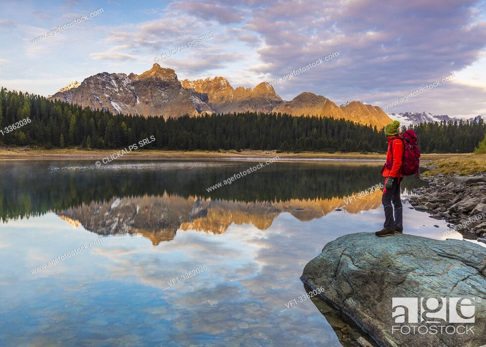 Photo de stock: Hiker admiring sunrise from the shore of Lake Palù, Malenco Valley, Valtellina, Sondrio province, Lombardy, Italy.