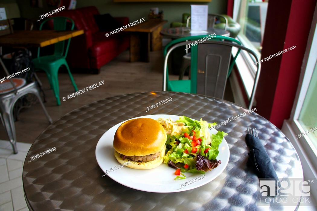 Stock Photo: Hamburger with side salad on a plate in a cafe.