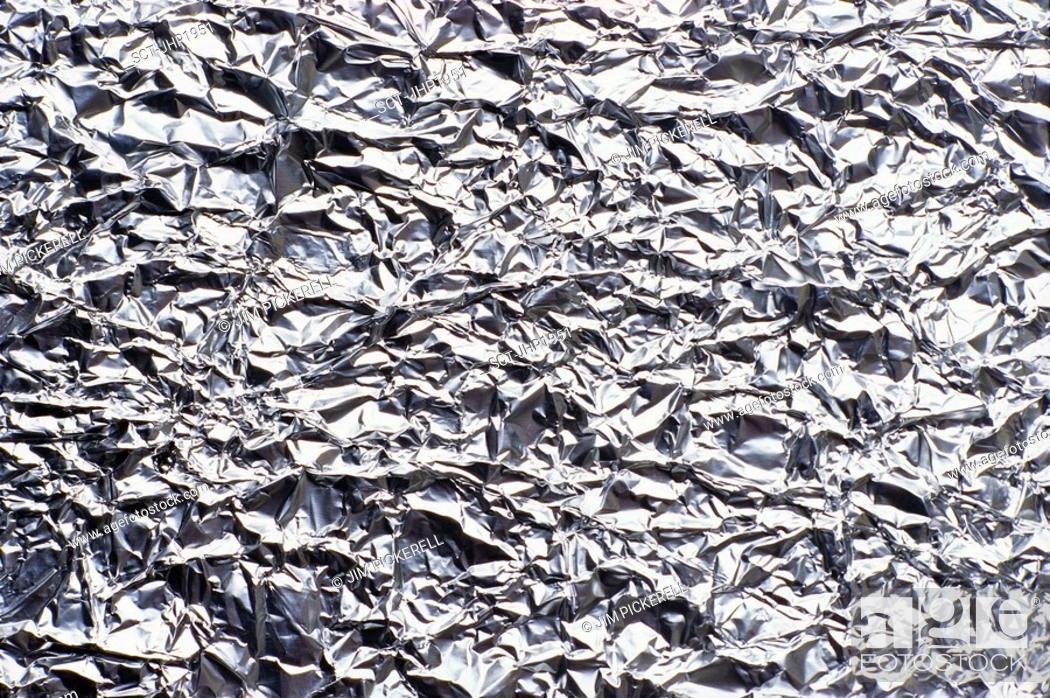 Stock Photo: Wrinkled aluminum foil.