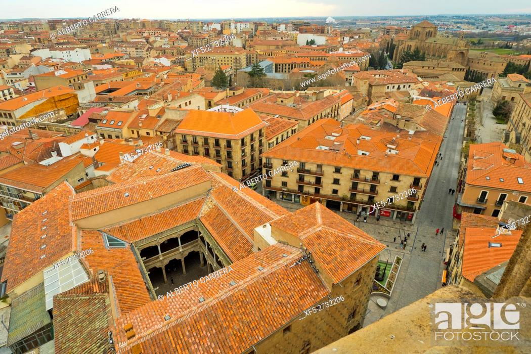 eda7256c8 Stock Photo - Casa de las Conchas and City View from Bell Tower of La  Clerecía