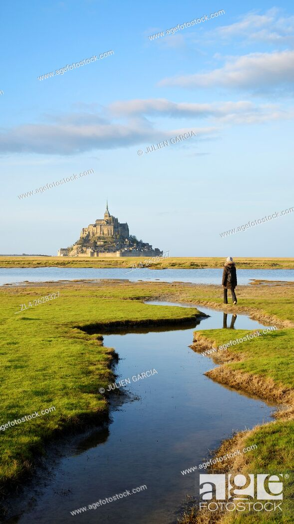 Stock Photo: France, Normandy, Manche, Mont Saint-Michel Bay listed as World Heritage by UNESCO, Mont Saint-Michel seen from the salt marsh meadows, Model Released.