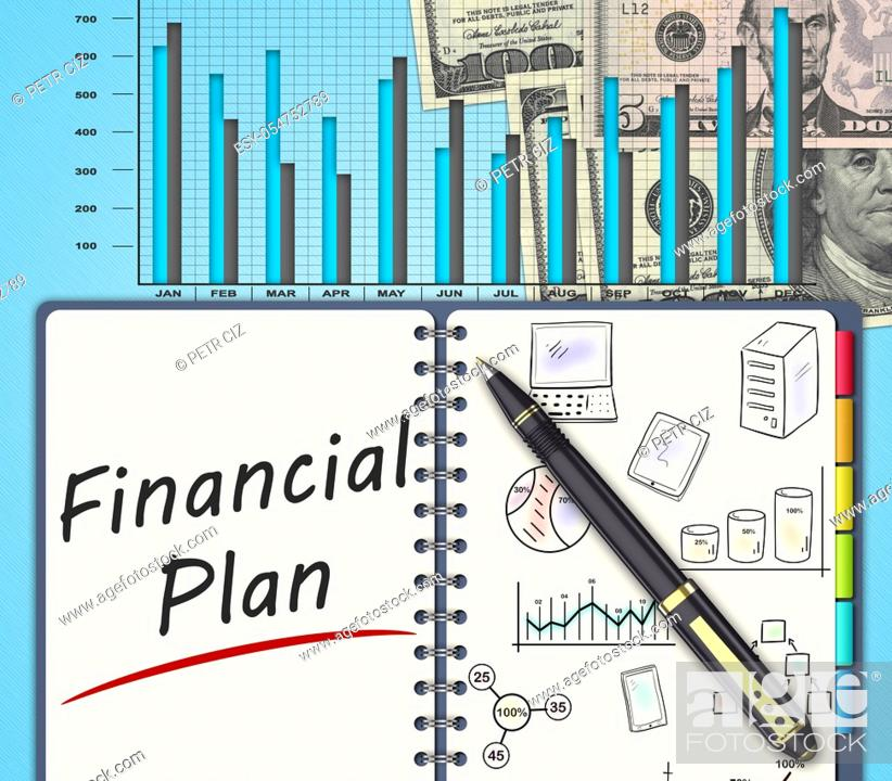 Stock Photo: The financial business plan on an office desk.