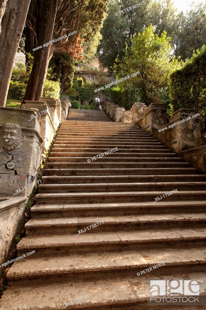 Stock Photo: steep stone steps leading up at Villa d'Este gardens Tivoli.