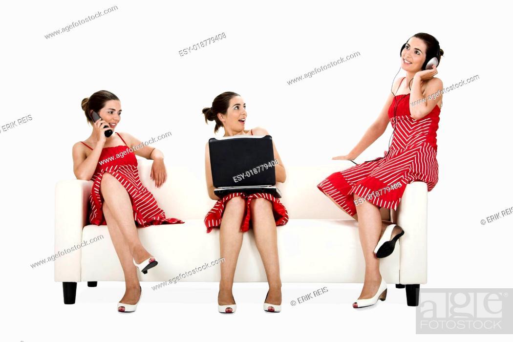 Stock Photo: Three happy twins sisters.