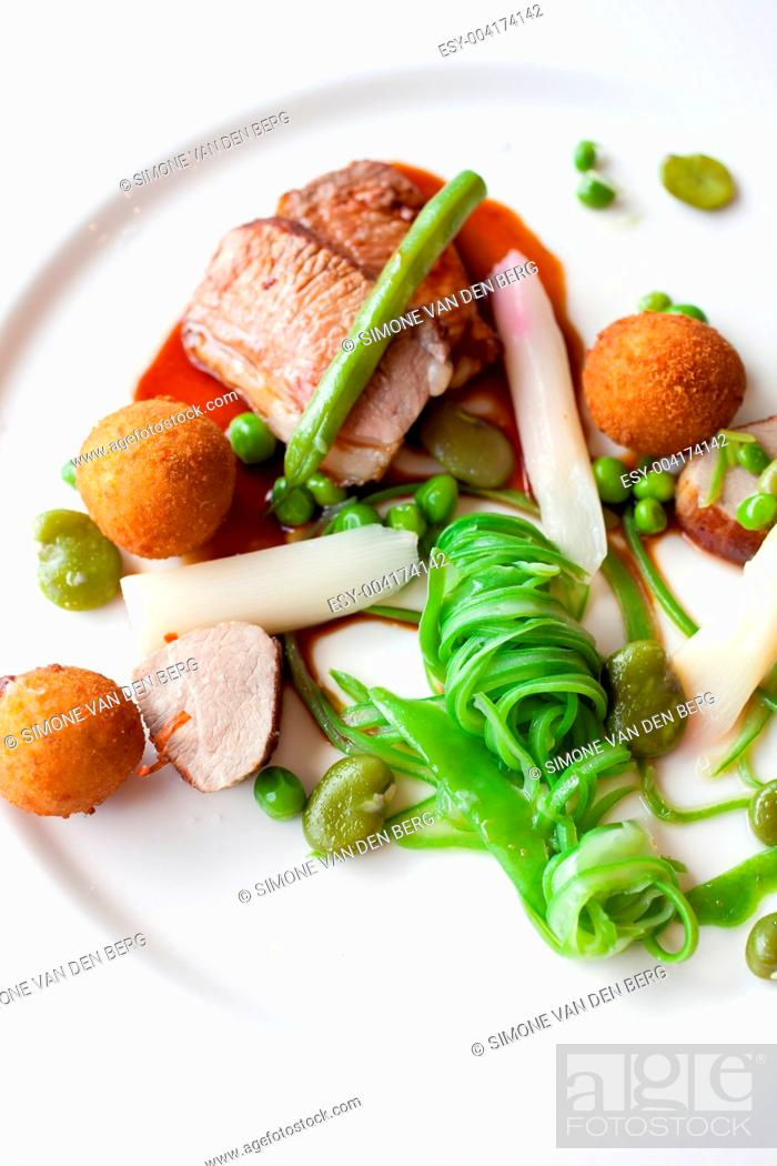 Stock Photo: Restaurant meal with lamb.