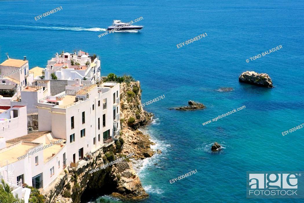 Photo de stock: Ibiza view with nice Mediterranean sea and boats.