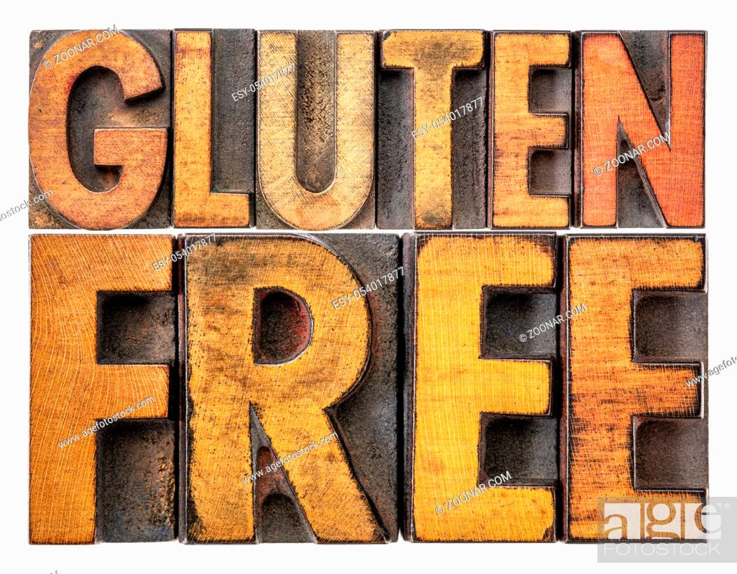 Stock Photo: gluten free banner - isolated word abstract in vintage letterpress wood type stained by inks.
