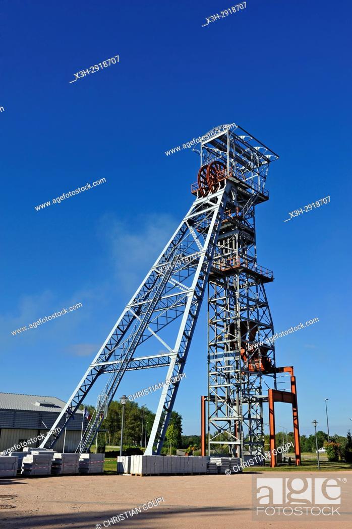 Stock Photo: headframe of the former mine shaft named Saint-Joseph, Saint-Eloy-les-Mines, Puy-de-Dome department, Auvergne-Rhone-Alpes region, France, Europe.