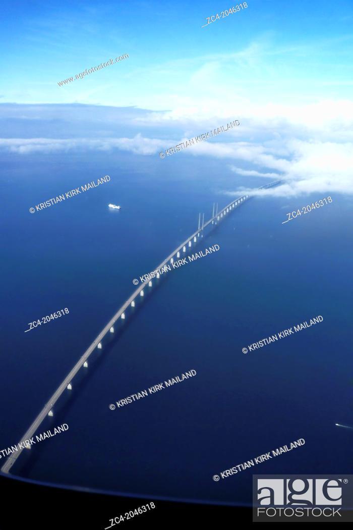 Stock Photo: THE ORESUND BRIDGE between Denmark and Sweden.