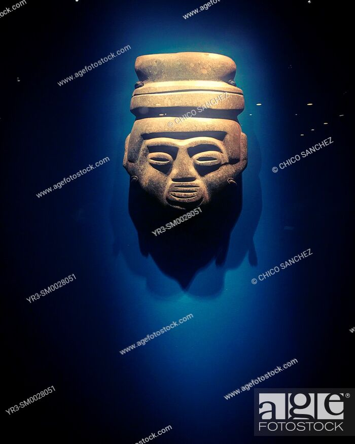 Stock Photo: A Mexica Mesoamerican mask decorates the Museo del Templo Mayor museum in Mexico City, Mexico.