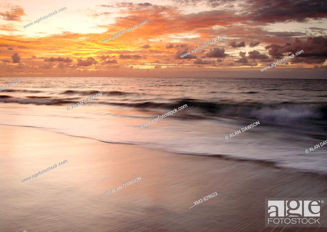 Stock Photo: Sunset from Maspalomas on Gran Canaria in the Canary islands, Spain.
