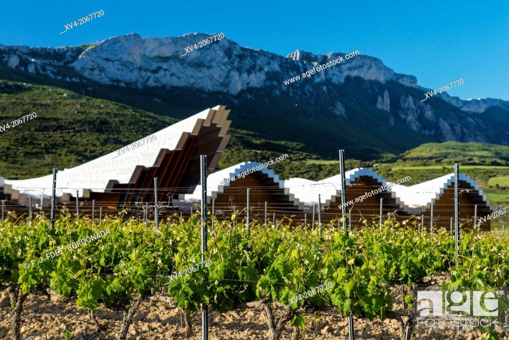 Stock Photo: Ysios winery in Laguardia, Rioja alavesa, Basque Country, Spain.