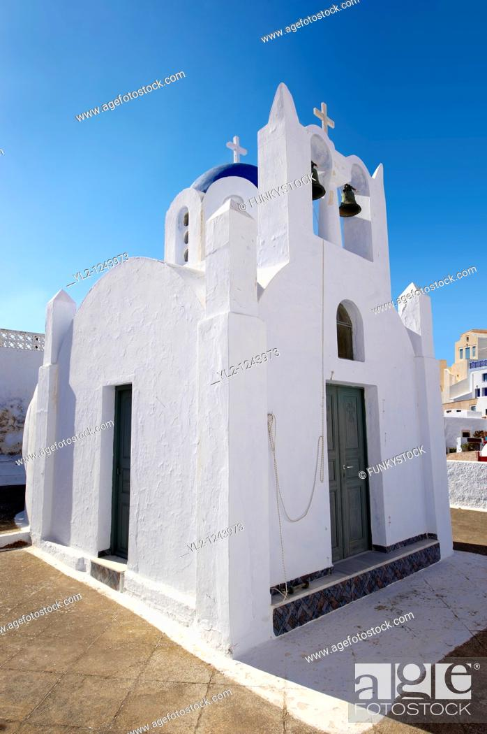 Stock Photo: Chapel and churches of Pyros, Santorini, Greece.
