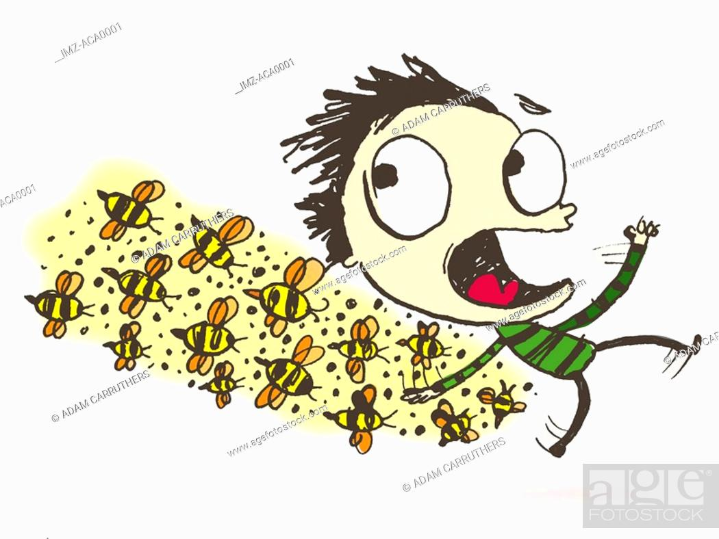 Stock Photo: A man being chased by a swarm of bees.