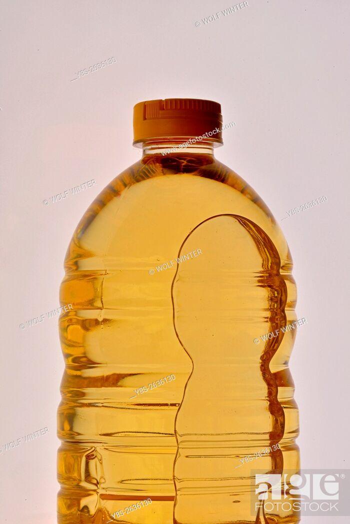 Stock Photo: Sunflower oil in a plastic bottle.