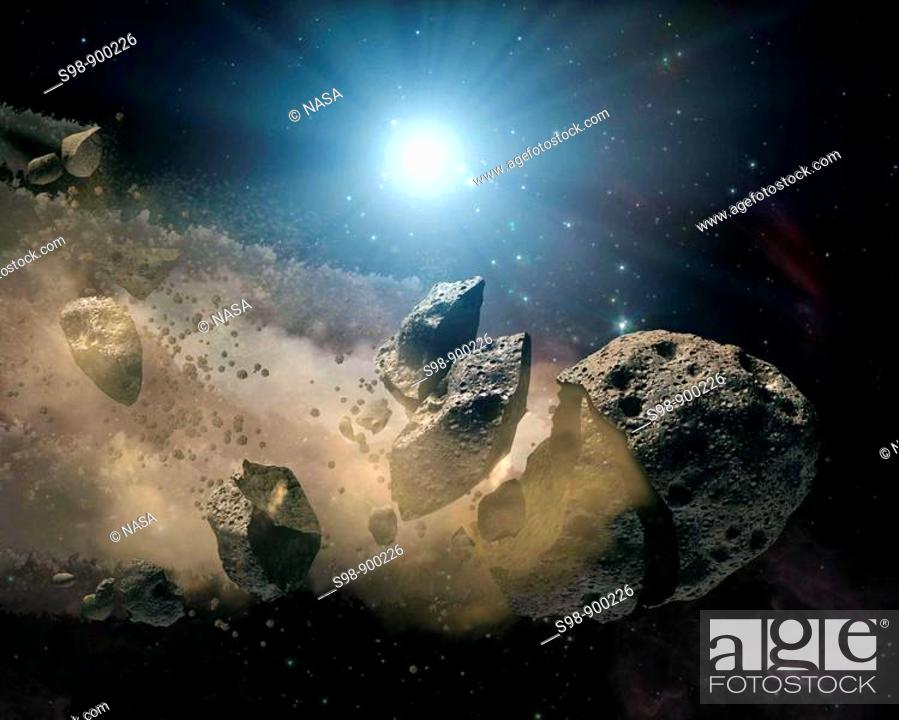 Stock Photo: Spitzer Space Telescope set its infrared eyes upon the dusty remains of shredded asteroids around several dead stars  This artist's concept illustrates one such.