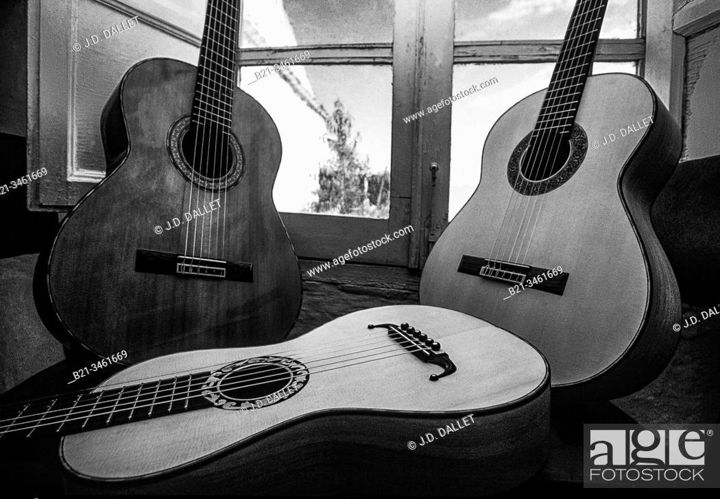 Stock Photo: Spain, Cordoba, at the guitars maker studio of Mr. Rodriguez, at Andujar.