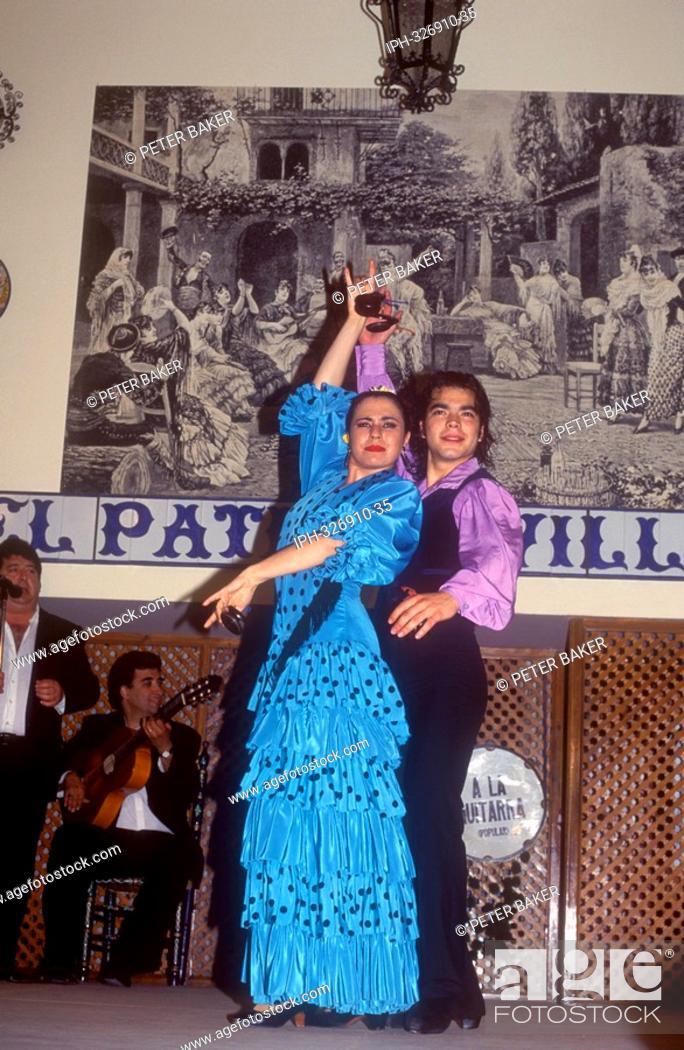 Flamenco Folklore Show At El Patio Sevillano In Seville Stock Photo
