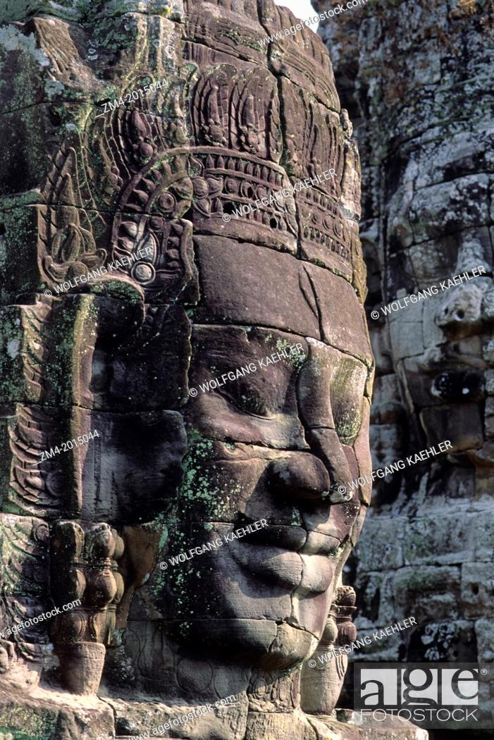 Stock Photo: CAMBODIA, ANGKOR, ANGKOR THOM, BAYON TEMPLE, FACE OF AVALOKITECVARA.