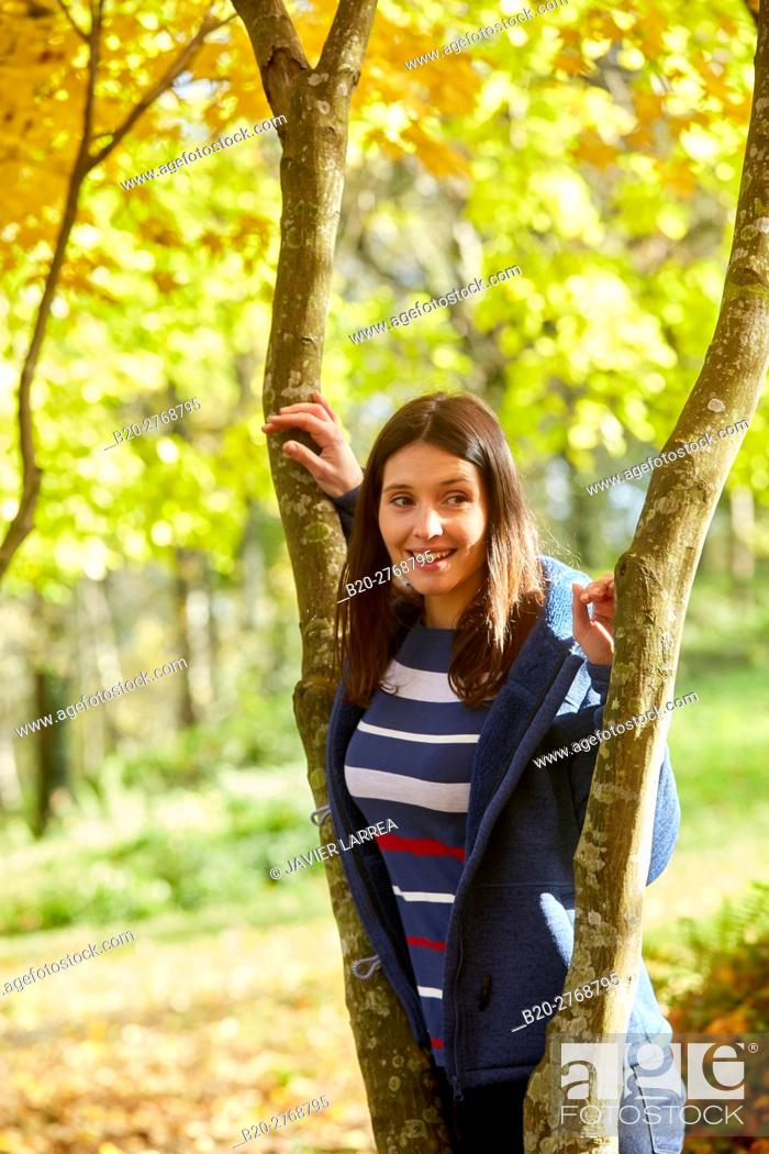 Stock Photo: Woman, Autumn, Pagoetako Parke Naturala, Pagoeta Natural Park, Aya, Gipuzkoa, Basque Country, Spain.