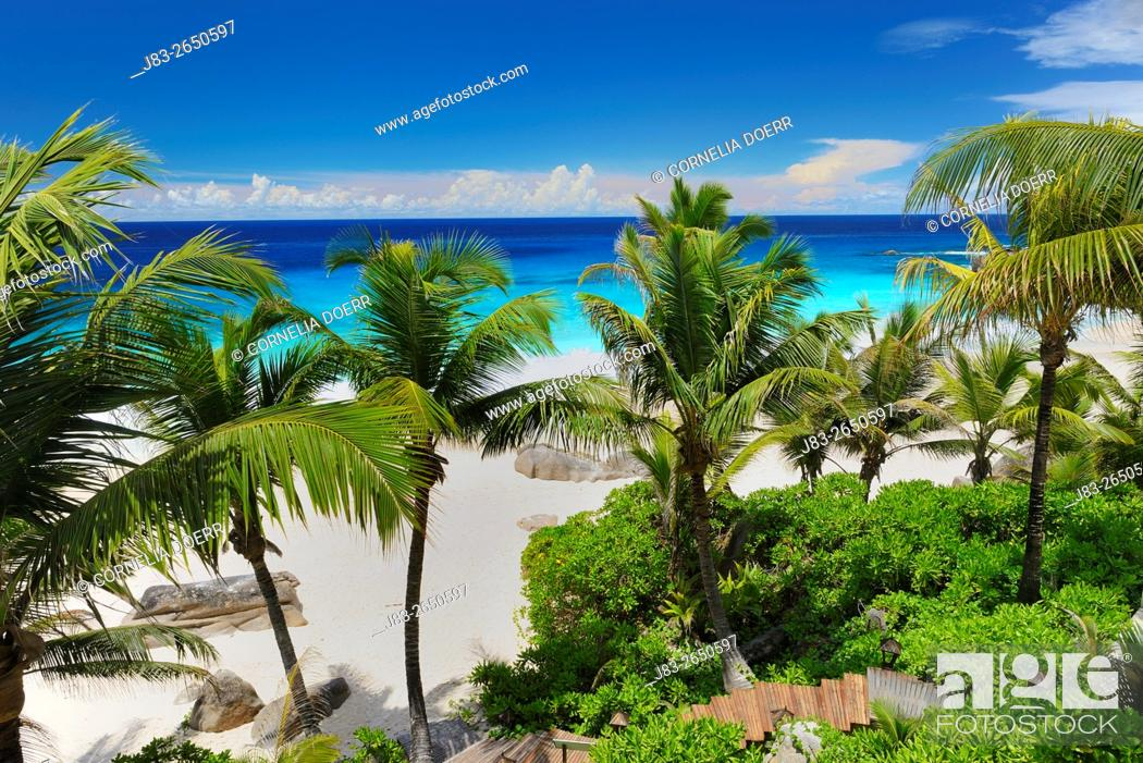 Stock Photo: Beach Anse Intendance, Mahe Island, Seychelles, Indian Ocean, Africa.