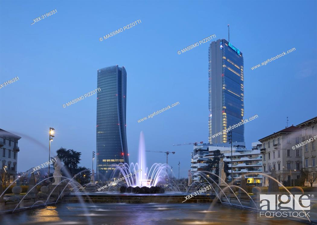 Stock Photo: The moder architecture of Citylife district, from Giulio Cesare square, in Milan, Italy.