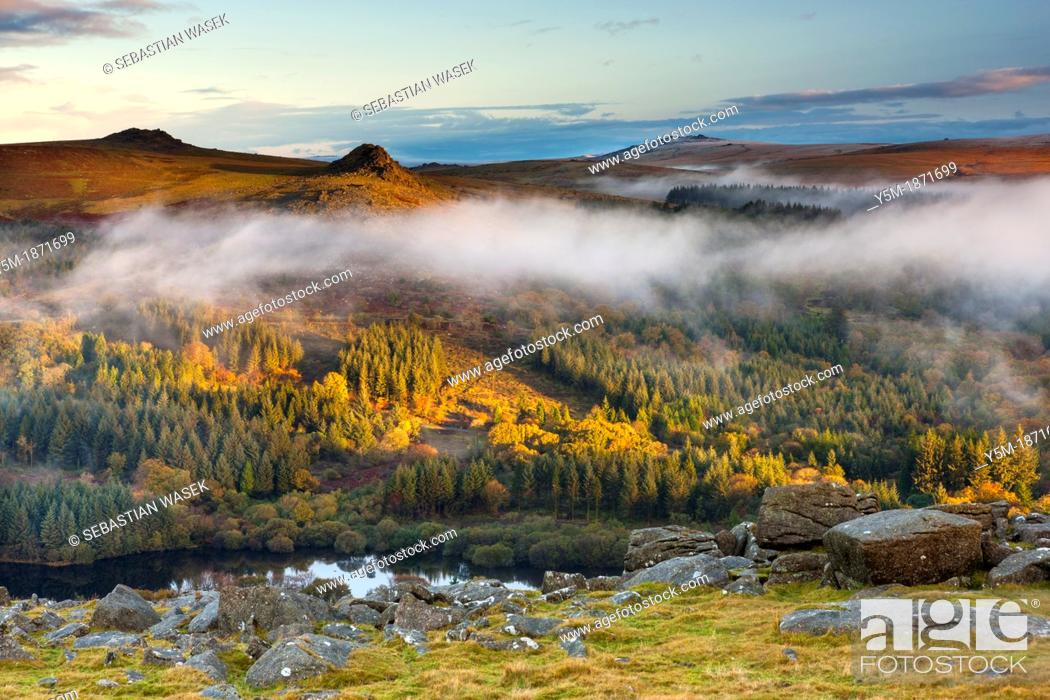 Stock Photo: View over Burrator Reservoir towards Sharpitor and Leather Tor from Sheeps Tor in the Dartmoor National Park, Devon, England, UK, Europe.