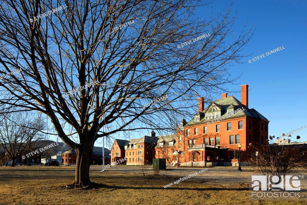 Stock Photo: Vermont State Hospital mental asylum an prison, Waterbury, Vermont, USA.