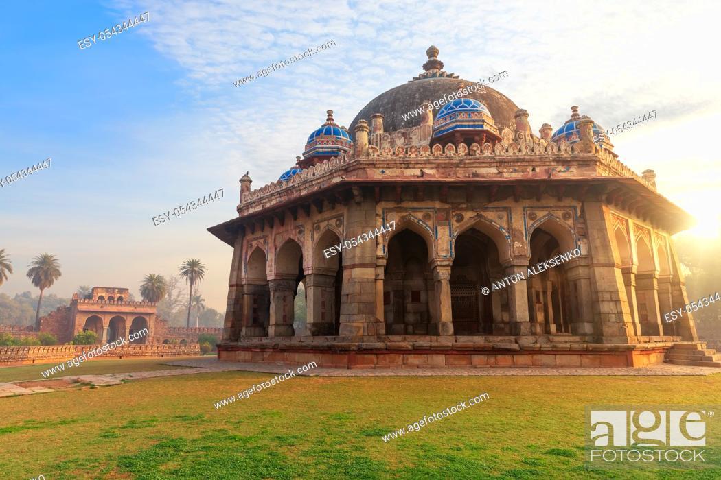 Stock Photo: Isa Khan's tomb, beautiful sunrise view, Humayun's Tomb complex, New Delhi, India.