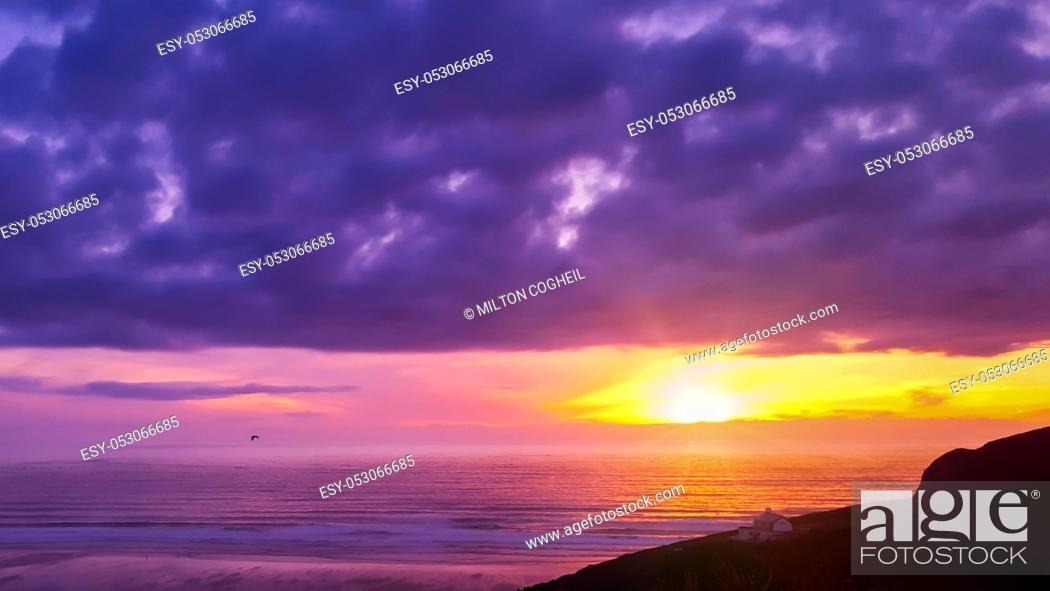Stock Photo: Beautiful sunset over Mawgan Porth beach, Cornwall, UK.