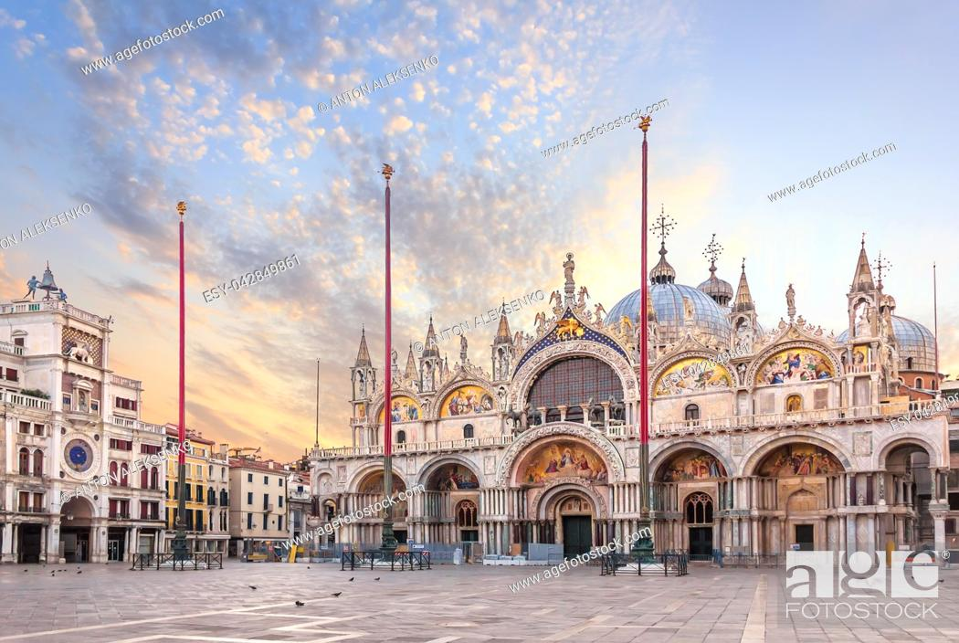 Stock Photo: Basilica San Marco and the Clocktower in Piazza San Marco, morning view.