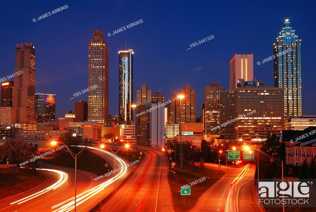 Stock Photo: Traffic patterns emerge during rush hour in Atlanta.