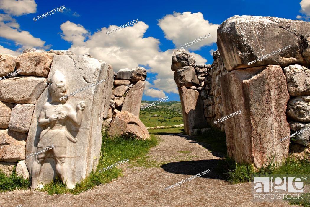 Stock Photo: Photo of the Hittite releif sculpture on the Kings gate to the Hittite capital Hattusa 7.